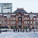 東京駅雪景色